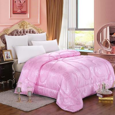 蚕丝被 牡丹花贡缎提花蚕丝被 150*200cm  4斤 粉色