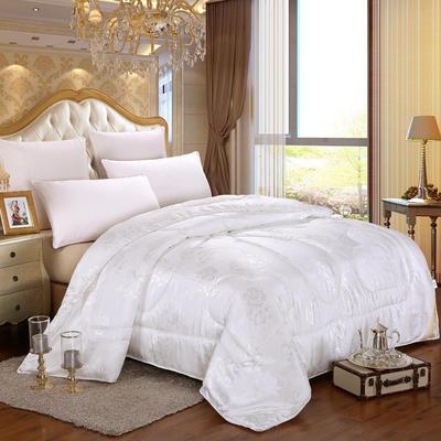 蚕丝被 牡丹花贡缎提花蚕丝被 150*200cm  4斤 白色
