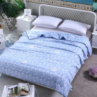 水洗棉印花夏被可配三件套 150x200cm 花语-蓝