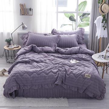 2019新款-韩版无印水洗棉夏被四件套 48*74cm/对 都市丽人-紫