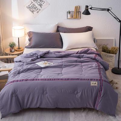 2019新款-织带无印水洗棉夏被 150x200cm 简约时尚-紫