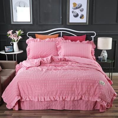 2019新款-韓版無印風四件套 1.5m(5英尺)床 都市麗人 粉色