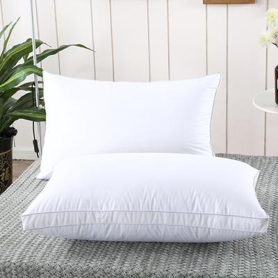 2019新款-全棉高密度13372面料立体羽丝绒枕芯白色 低枕/一只