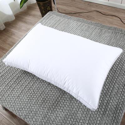 2019新款-全棉高密度13372面料立体羽丝绒枕芯白色 低枕/一对