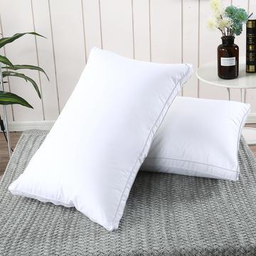 2019新款-全棉高密度13372面料立体羽丝绒枕芯白色