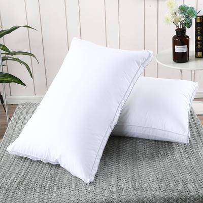 2019新款-全棉高密度13372面料立体羽丝绒枕芯白色 中枕/一对