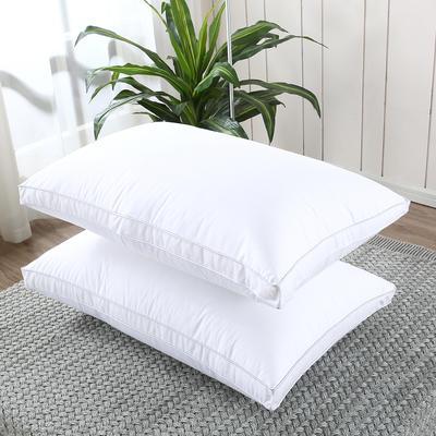 2019新款-全棉高密度13372面料立体羽丝绒枕芯白色 高枕/一对