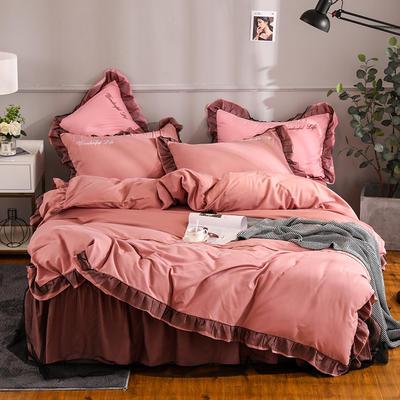 2019新款-韩版床裙蕾丝四件套 床单款四件套1.5m(5英尺)床 都市风彩-豆沙