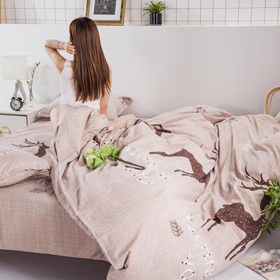 2020新款-植物羊绒四件套高克重斜纹多规格 1.5m(5英尺)床 鹿迷