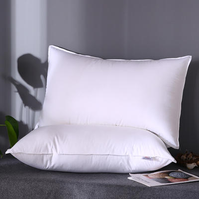 2019新款全棉133100星级酒店专供双针羽丝绒软枕芯48*74cm 带标白色/对