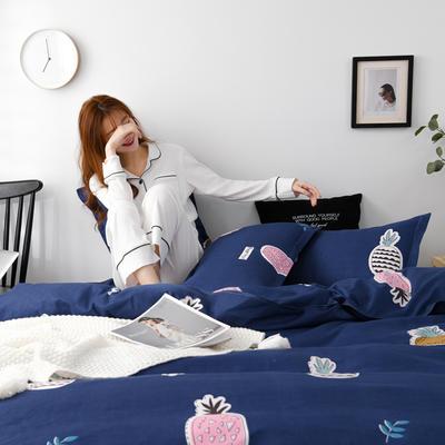 2020新款-植物羊绒四件套高克重斜纹多规格 1.5m(5英尺)床 菠萝派