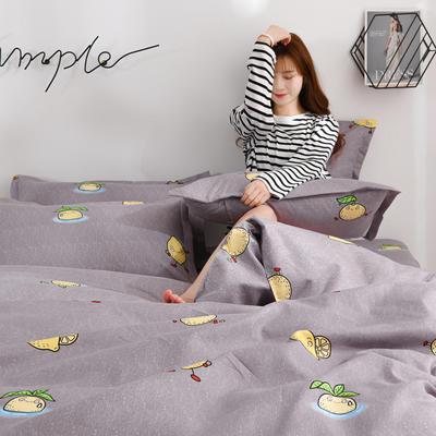 2020新款-植物羊绒四件套高克重斜纹多规格 1.5m(5英尺)床 柠檬派