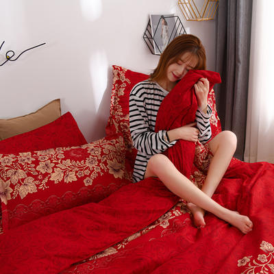 2020新款-植物羊绒四件套高克重斜纹多规格 1.5m(5英尺)床 欣花若梦