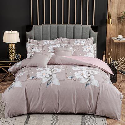 2020新款-植物羊绒四件套高克重斜纹多规格 1.5m(5英尺)床 白玉花颜