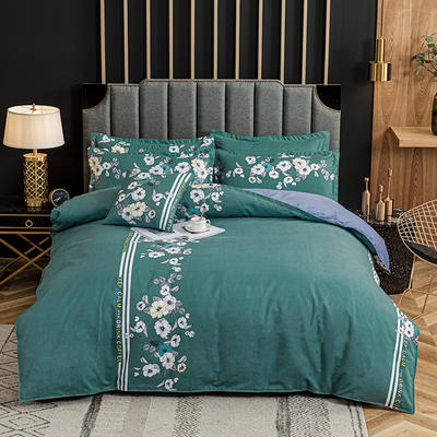 2020新款-植物羊绒四件套高克重斜纹多规格 三件套1.2m(4英尺)床 朵朵芳菲