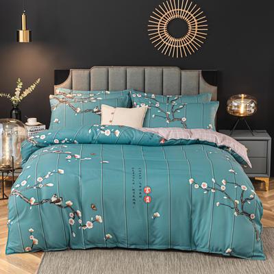2020新款-植物羊绒四件套高克重斜纹多规格 1.5m(5英尺)床 富贵花开