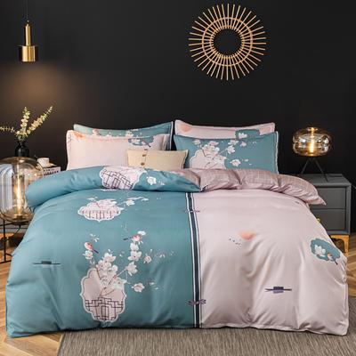 2020新款-植物羊绒四件套高克重斜纹多规格 三件套1.2m(4英尺)床 花香满屋