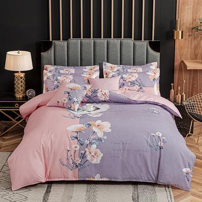 2020新款-植物羊绒四件套高克重斜纹多规格 三件套1.2m(4英尺)床 温情花语
