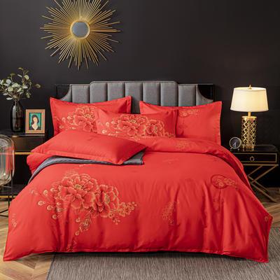 2020新款-植物羊绒四件套高克重斜纹多规格 1.5m(5英尺)床 喜结连理