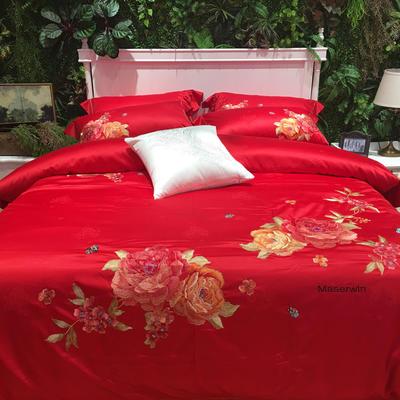 马上云长绒棉绣花系列四件套(碧玉妆成 实拍图) 标准(1.5m-1.8m床) 浪漫红
