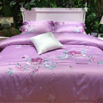 马上云长绒棉绣花系列四件套(碧玉妆成 实拍图) 标准(1.5m-1.8m床) 魅力紫