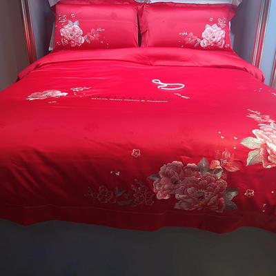 马上云长绒棉绣花系列四件套(爱的承诺 实拍图) 标准(1.5m-1.8m床) 大红