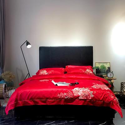马上云长绒棉绣花系列四件套(爱的承诺 2) 标准1.5-1.8m床 大红