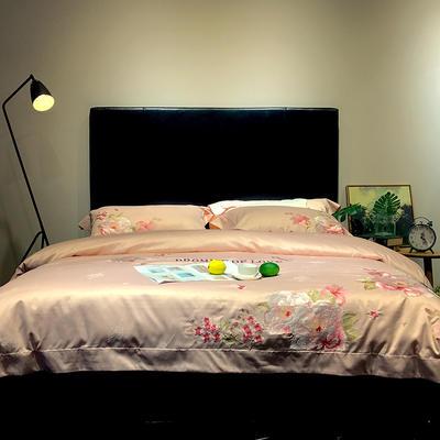 马上云长绒棉绣花系列四件套(爱的承诺 2) 标准1.5-1.8m床 粉色