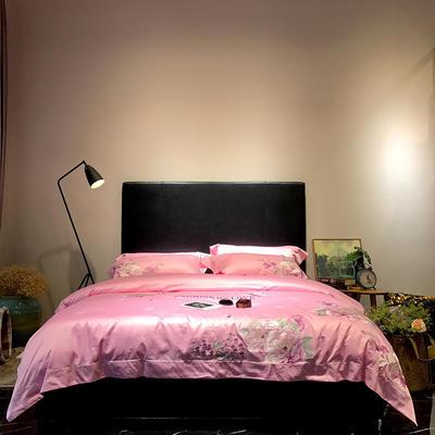 马上云长绒棉绣花系列四件套(爱的承诺 2) 标准1.5-1.8m床 浅粉