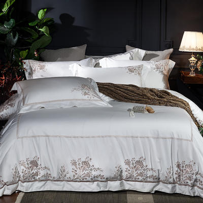 2018新款60长绒棉刺绣四件套 1.8m(6英尺)床 蒂莱-莹白