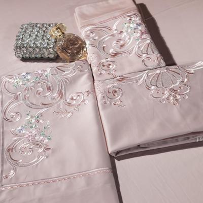 2018新款60长绒棉刺绣四件套 1.8m(6英尺)床 配礼盒包装/套