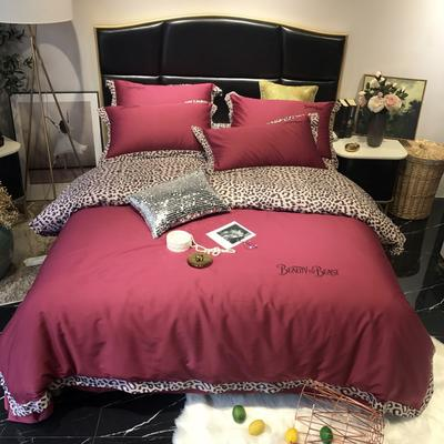2019新款60长绒棉野兽派提花印花四件套-实拍图 1.8m(6英尺)床 酒红