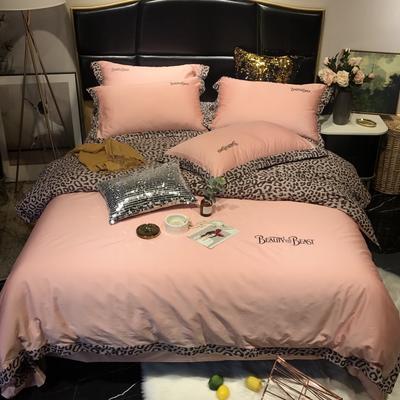 2019新款60长绒棉野兽派提花印花四件套-实拍图 1.8m(6英尺)床 玉色