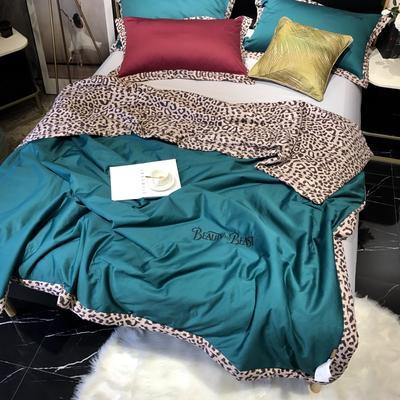 2019新款60长绒棉b版80提印野兽派夏被 200X230cm 墨绿