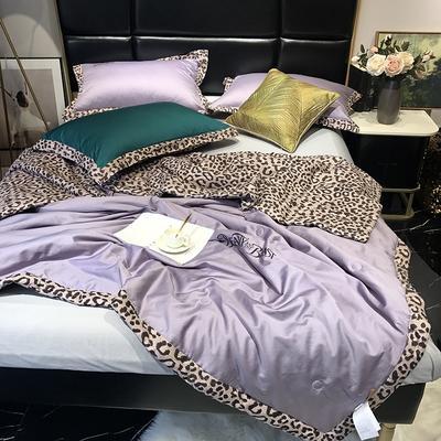 2019新款60长绒棉b版80提印野兽派夏被 200X230cm 浅紫