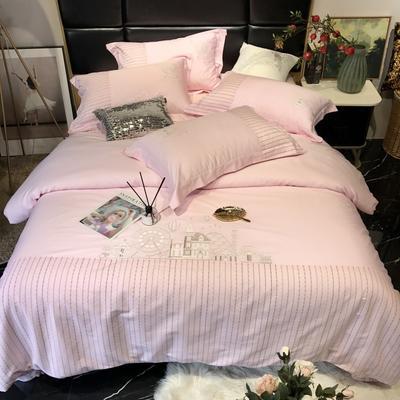 2019新款60长绒棉四件套潘多拉 1.5m(5英尺)床 浅粉