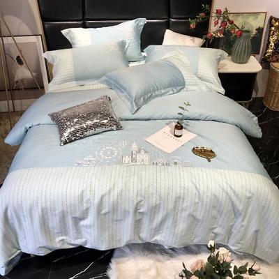 2019新款60长绒棉四件套潘多拉 1.5m(5英尺)床 水绿