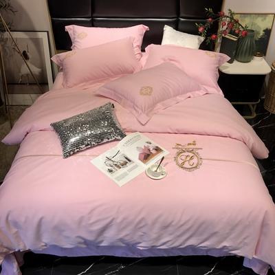 2019新款100支色纺(全棉)四件套 1.5m床单款 粉色