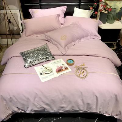 2019新款100支色纺(全棉)四件套 1.8m床单款 紫色