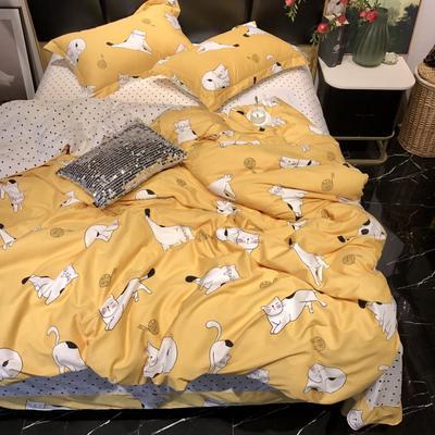 2019新款全棉133372祖玛珑系列四件套 1.5m(5英尺)床 功夫猫