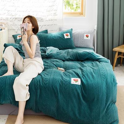 2019新款玫瑰绒系列四件套 1.8m床单款 墨绿