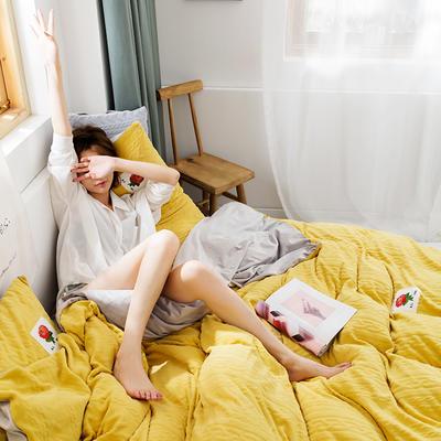 2019新款玫瑰绒系列四件套 1.8m床单款 荧光黄