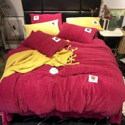 2019新款玫瑰绒系列四件套-实拍图 1.5m床单款 酒红