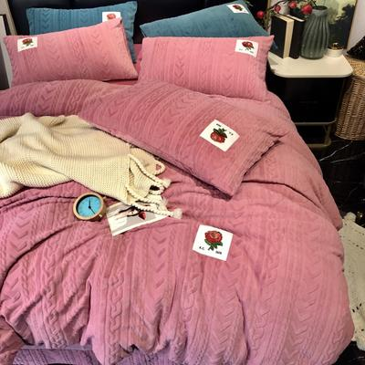 2019新款玫瑰绒系列四件套-实拍图 1.8m床单款 藕粉