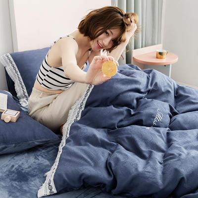2019新款全棉加韩国绒四件套-布拉格系列 1.5m床单款 宝蓝