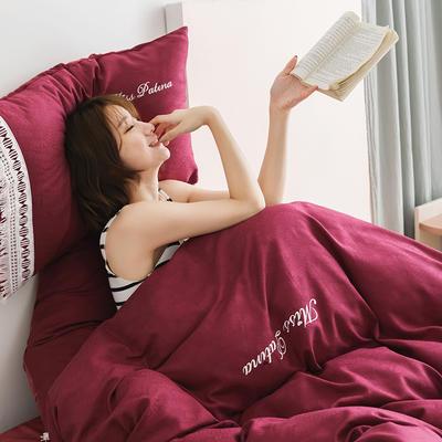 2019新款全棉加韩国绒四件套-布拉格系列 1.5m床单款 酒红