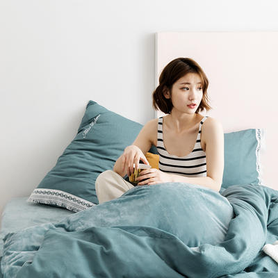 2019新款全棉加韩国绒四件套-布拉格系列 1.5m床单款 浅绿