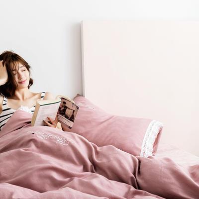 2019新款全棉加韩国绒四件套-布拉格系列 1.5m床单款 樱红