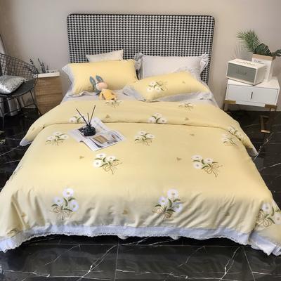 2020新款蕾丝全棉海岛棉系列四件套 1.5m床单款 初见 黄
