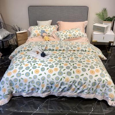 2020新款蕾丝全棉海岛棉系列四件套 1.5m床单款 多彩花季 兰
